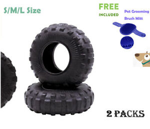2 x Aggressive Chew Dogs Toys Indestructible Interactive Natural Tyre Toy  21CM