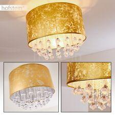 Decken Lampen runde Flur Küchen Leuchten Stoff goldfarben Wohn Schlaf Zimmer