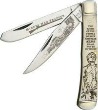 RR Scrimshaw Trapper POCKET KNIFE Minute Man white Bone Handle 2nd Amendment,