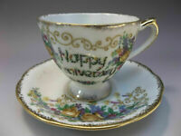 Happy Anniversary Tea Cup Saucer Set Bone China Flowers Yellow Roses