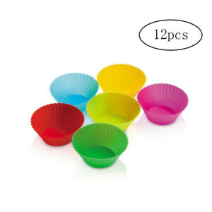 12 Count Silicone Baking Cups Non-stick Reusable Cupcake Liners Muffin Molds New
