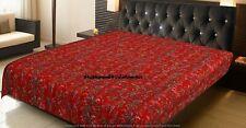 Cotton Kantha Quilts Queen Size Bedding Bedspread Throw Indian Blanket Gudri