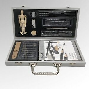 Royal Langnickel Sketching Artist Set Kit Art Drawing Charcoal Pencils Mannequin