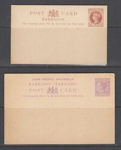 Barbados H&G 2, H&G 4, mint. 1882-1886 ½p and 1½p QV Postal Cards, sound, F-VF