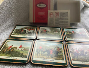 6 Pimpernel Vintage Coasters 1970s Uk Made Hunting Scenes VGC