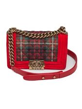 CHANEL Le Boy Crossbody Chain Bag Medium Limited Edinburgh Collection Red Tartan