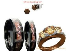 his 8mm and her tungsten 6mm camo black and brown wedding engagement ring set - Camo Wedding Ring Sets For Him And Her
