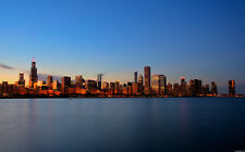 "SUNSET CHICAGO SKYLINE A3 CANVAS GICLEE PRINT POSTER FRAMED 16.5"" x 11.1"""