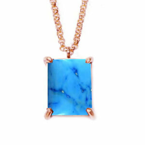 Turquoise Pendant With Chain Cabochon Gemstone Blue Beautiful Rose Gold Plated