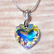 "Sterling Silver Swarovski Elements AB Faceted CZ Crystal Heart 18"" Necklace NEW"