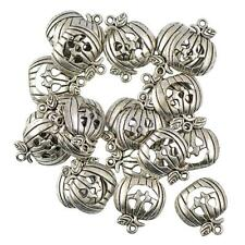 50 Halloween Pumpkin Charm Pendant Beads Jewelry DIY-Antique Tibetan Silver