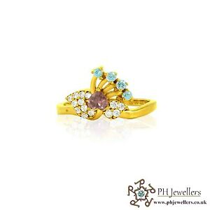 22ct 916 Indian Yellow Gold Multi colour Peacock style Ring with CZ Stones Size
