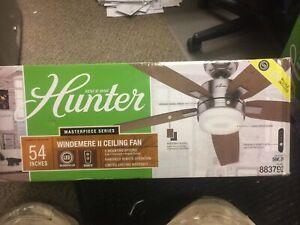 "Hunter Windemere II 54"" Brushed Nickel Ceiling Fan w/Remote Control & Light Kit"
