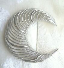 Monet VTG Crescent Silver Tone Pin Textured Round Brooch Jewelry