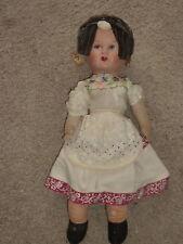 "Vintage 18"" doll w papier mache head & straw excelsior filled cloth body Ooak D6"