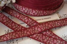 "2y VTG FRENCH 5/8"" BURGANDY PINK FLOWER ROSE JACQUARD BROCADE SATIN RIBBON TRIM"