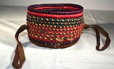 """Vintage Hand Woven African Nigerian Basket/Bowl w/leather 4.5"""" in diameter"""