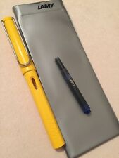 NEW LAMY SAFARI YELLOW CHROME TRIM MEDIUM NIB FOUNTAIN PEN-LAMY POUCH & INK