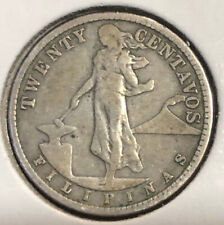 1919s US-Philippines 20 centavos Silver Collectible Coin MINTAGE=850K Only