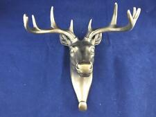 Resin Cast Coat Hook Deer Head with a Bronze Finish.