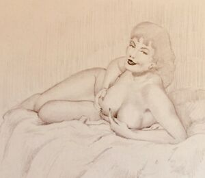 TED WITHERS ORIGINAL BRUNETTE NUDE 50s PIN-UP Nude DRAWING Vintage Pinup Breast