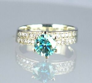 3.84 Ct Certified 925 Sterling Silver Blue Diamond Solitaire Halo Women's Ring