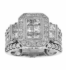 2.25ct PRINCESS Cut Invisible Set Wedding Anniversary Ring in 18K White Gold