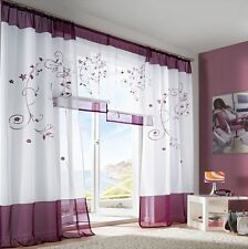 pair Sheer Voile Window Curtains purple grape 2 140 245cm Embroidered