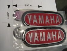 Repro Yamaha AT DT CT1 & ? others tank badges NICE Red/Blk/Chrome LG style