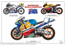 Stoner ,Doohan & Gardner - Aussie MotoGP & 500cc world champions ltd ed print