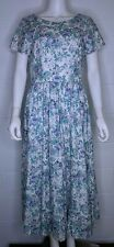 Laura Ashley Women's 10 Dress Floral Empire Waist Pleated Blue Green VTG A16