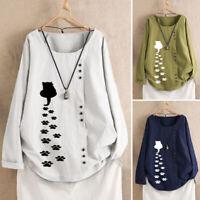Belle Femme Shirt Floral Simple Manche Longue Col Rond Coton en Lin Haut Plus