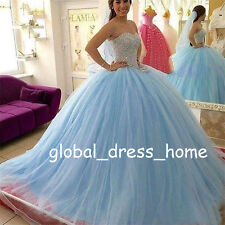 Sweet 15 16 Light Blue Quinceanera Dresses Beaded Puffy Prom Wedding Ball Gowns