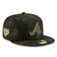Atlanta Braves New Era MLB Armed Forces Day 59FIFTY Fitted Camo Cap Hat Sz 7 3/8