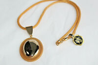 Vintage Goldtone Heirloom Hand Polished Locket on Mesh Rope Chain Necklace C*