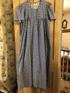 Nightingales Vintage Made In UK Dainty Floral Sky Blue Smock Prairie Dress 12 10