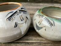 Big Lashes n' Smiles Unique HandCrafted Pottery Tealight Holder Set of 2 Smiles