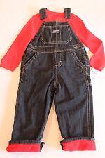 OshKosh Blue Denim Overalls & Red Bodysuit Shirt Outfit Infant Boy 24 Months NEW