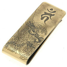 Japanese Money Clip Metal Gold Tone Engraved Steel Cut Ryu Dragon Made in Japan
