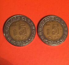 1998 N$5 ESTADOS UNIDOS MEXICANOS COIN Lot Of Tow (2)