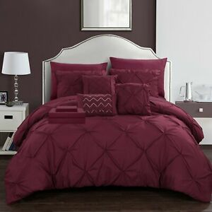 Chic Home 10 Piece Mycroft Pinch Pleated, ruffled and pleated complete Bed In...