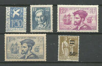 FRANCE ANNEE COMPLETE 1934, N° 294/298 Neufs**. Cote 434€