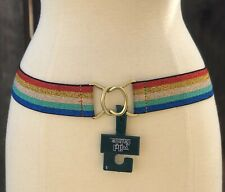 New Wild Fable Women's Stretch Web Belt Multi Color Rainbow Glitter Size Small