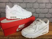 NIKE AIR MAX 90 TRAINERS FULL WHITE LEATHER - VARIOUS SIZES CHILDRENS LADIES