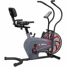 Body Flex Sports Body Rider BRF980 Indoor Stationary Fan Bike with Back Support