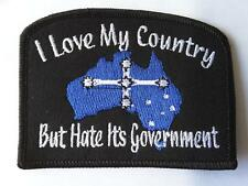 I LOVE MY COUNTRY BUT HATE IT'S GOVERNMENT EMBROIDERED PATCH BIKER MC HARLEY