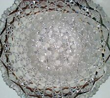 Vintage large clear crystal bowl with sawtooth rim