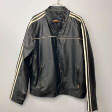 Arizona Jeans Mens Biker Motorcycle Jacket Black Faux Leather Lined Mock Neck L