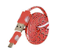USB Typ C Kabel Rot 1M  auf USB Ladekabel Nylon Geflochten Datenkabel LED Licht