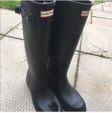Women's Tall Matte Black Hunter Rain Boots, Size 9